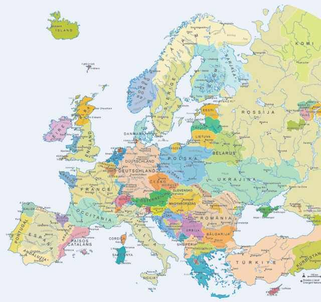 Hypothetical Map Of Europe If Regional Independence Movements Were
