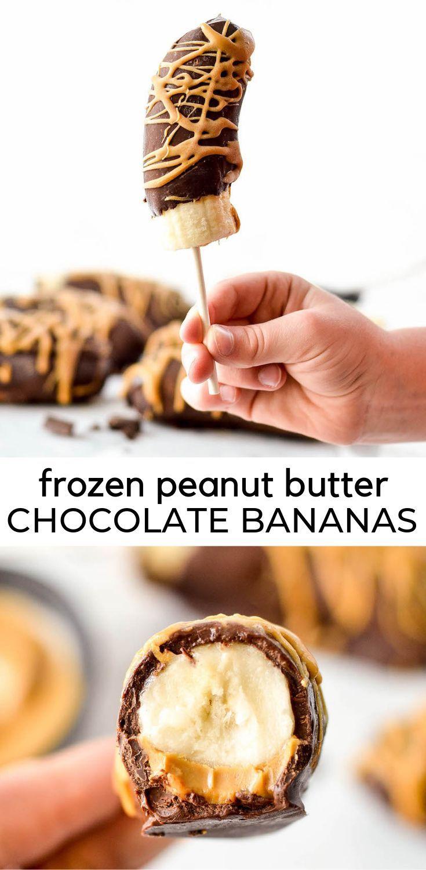 Los plátanos congelados cubiertos de chocolate con mantequilla de maní son fáciles de ...