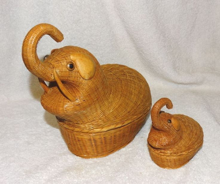 2 Vintage Elephants, Woven Wicker Wood Baskets-Shanghai People's Republic China
