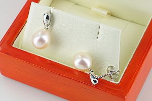 'White Pearl Earrings,<br> 8-8.5mm Drop Pearls, 9K White Gold, High Lustre