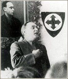 """Ferenc Szálasi was the leader of the National Socialist Arrow Cross Party – Hungarist Movement, the """"Leader of the Nation"""", being both Head of State and Prime Minister of the Kingdom of Hungary's """"Government of National Unity"""" for the final three months of Hungary's participation in World War II. During his brief rule, Szálasi's men murdered 10,000–15,000 Jews. After the war, he was executed by the Soviets for crimes against the state."""