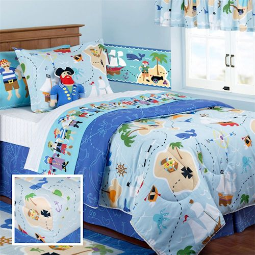 twin sheet set 65 twin comforter 90 blue pirate bedding for boys twin full queen treasure. Black Bedroom Furniture Sets. Home Design Ideas