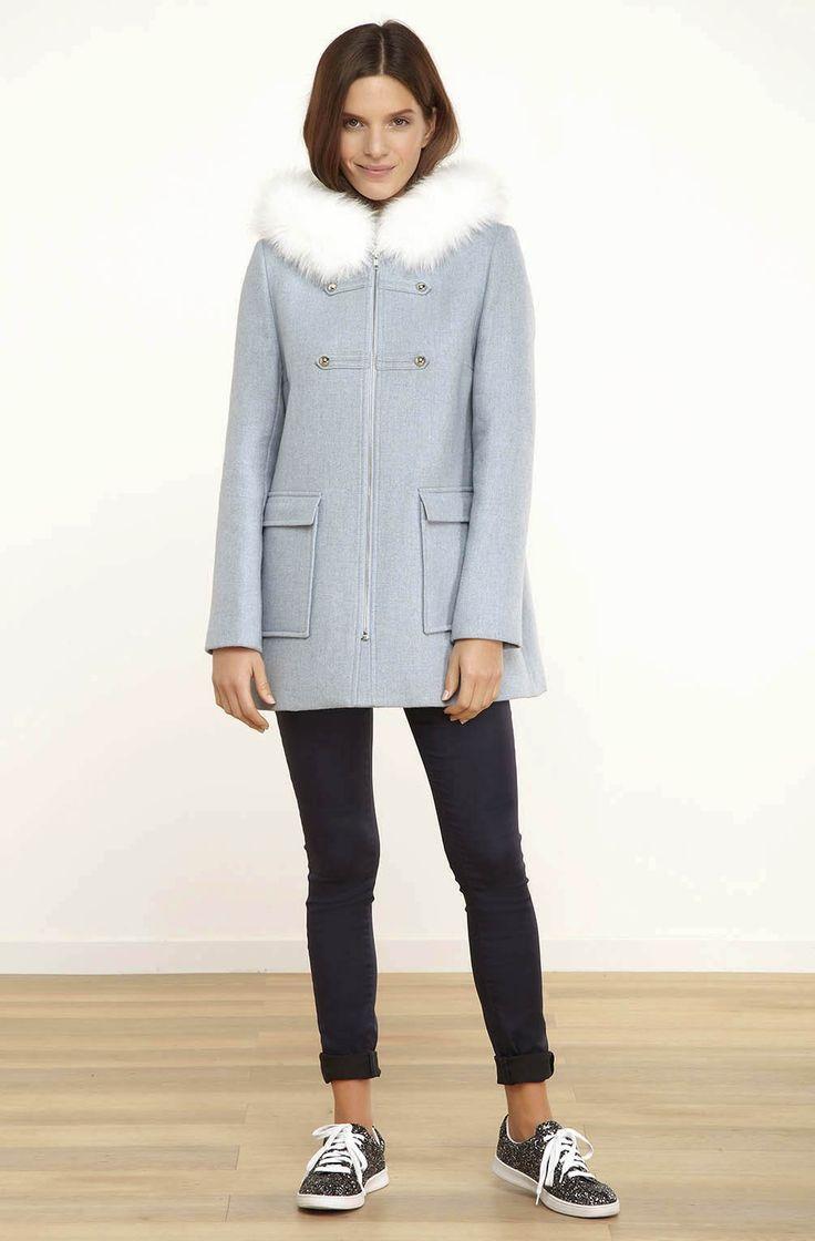 Duffle coat fausse fourrure blanche nuage - droits femme - naf naf 1