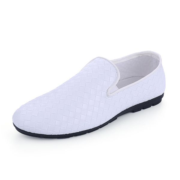 Sale 18% (24.78$) - Men New Fashion PU Leather Woven Breathable Slip On Casual Driving Shoes Loafer