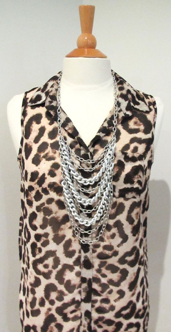Long silver chain necklace statement necklace chunky chain necklace casual necklace long chain necklace by kirstenann, $85.00