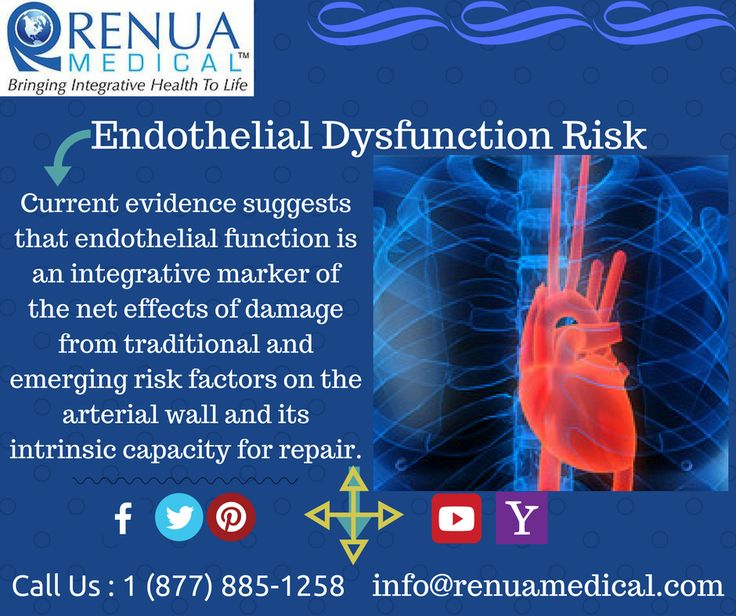 Current evidence suggests that endothelial function is an integrative marker of the net effects of damage from traditional and emerging risk factors on the arterial wall and its intrinsic capacity for repair. Endothelial dysfunction, detected as the presence of reduced vasodilating response to endothelial stimuli , has been observed to be associated with major cardiovascular Call @RenuaOfficial  at 1 (877) 885-1258 now