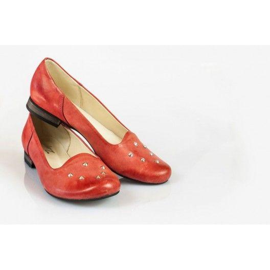 Női bőr ballerinas piros DT025 - manozo.hu