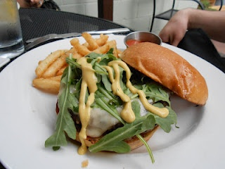Who What Where Food!  Ground Ribeye Burger with Dijon Vinaigrette and Arugula