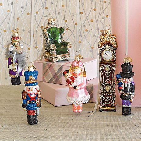 Nutcracker Ballet Ornaments. I like the clock and some of the figurines