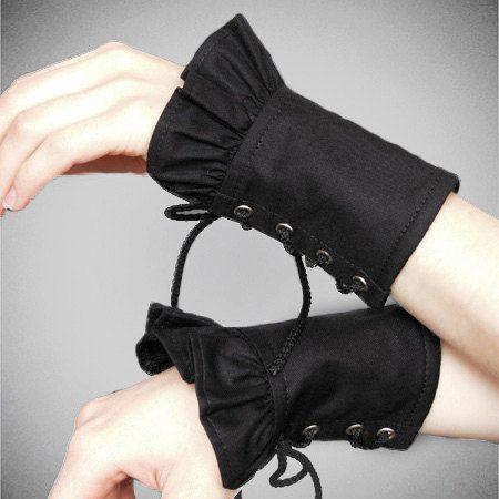 Cuffs Black gloves Gothic lolita corset punk by PaperCatsPL, $15.00