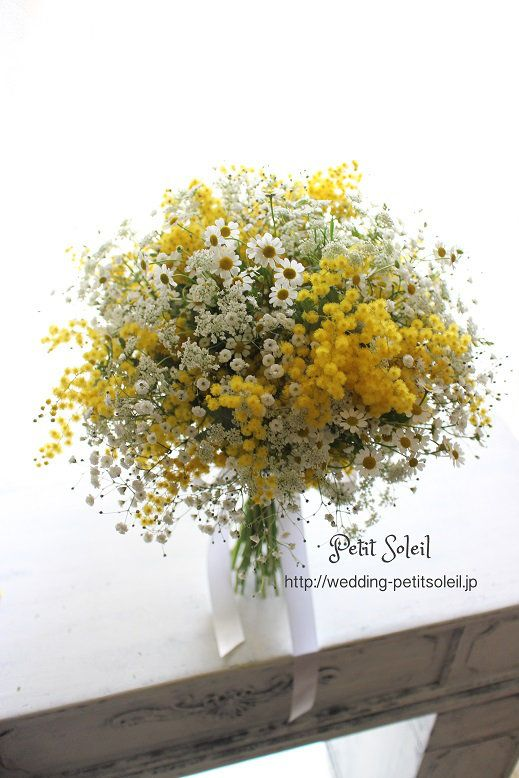 country rustic bridal bouquet# daisy# baby's breath# yellow mimosa# queen anne's lace