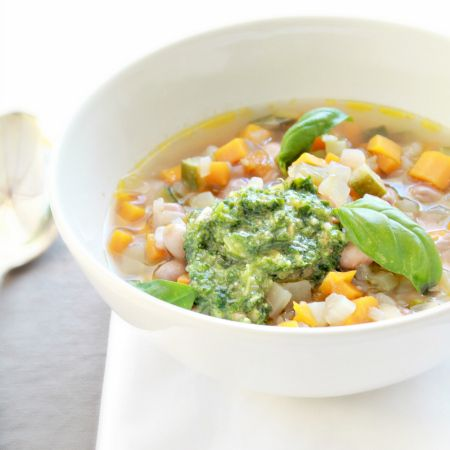 Summer Minestrone with basil Pesto. Minestrone d'estate con pesto al basilico.