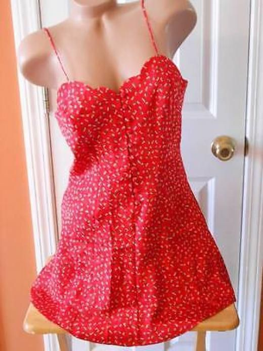 Victoria's Secret Sexy Chemise Teddy Slip Nightgown Nighty Babydoll Button Up P Babydoll Petites Red Polyester Yes
