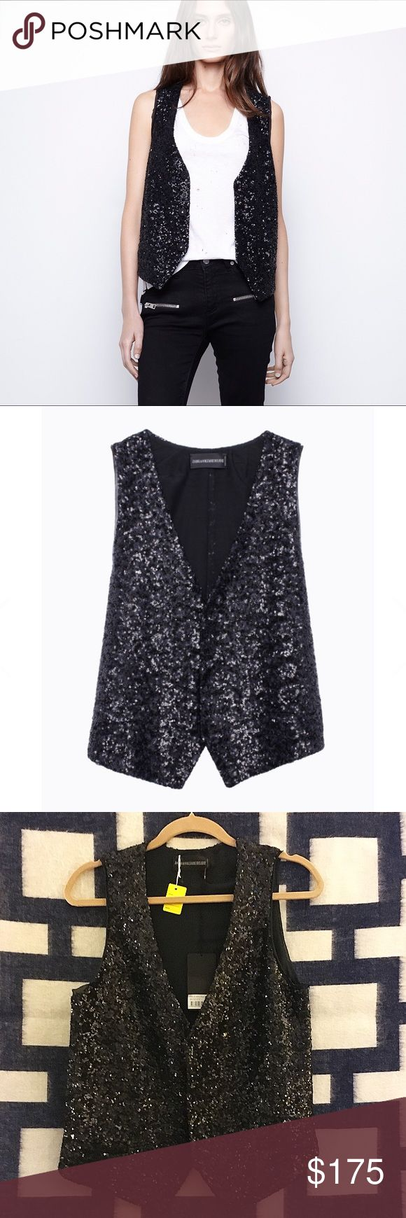 Zadig & Voltaire Deluxe Vest Gorgeous black sequin vest by Zadig et Voltaire. Vest has pockets and covered snaps. Lining: 68% cotton, 32% silk. Vest: 92% polyester, 8% Elastane. The perfect addition to any ensemble to add an edge or dress up jeans and a tee. NWT. Zadig & Voltaire Jackets & Coats Vests