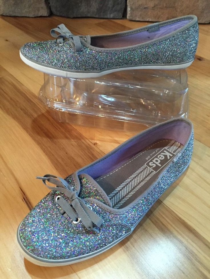 Keds Teacup Silver Glitter Plimsoll Trainers Skimmer Shoe Wedding  6 M EUC!  #Keds #skimmers