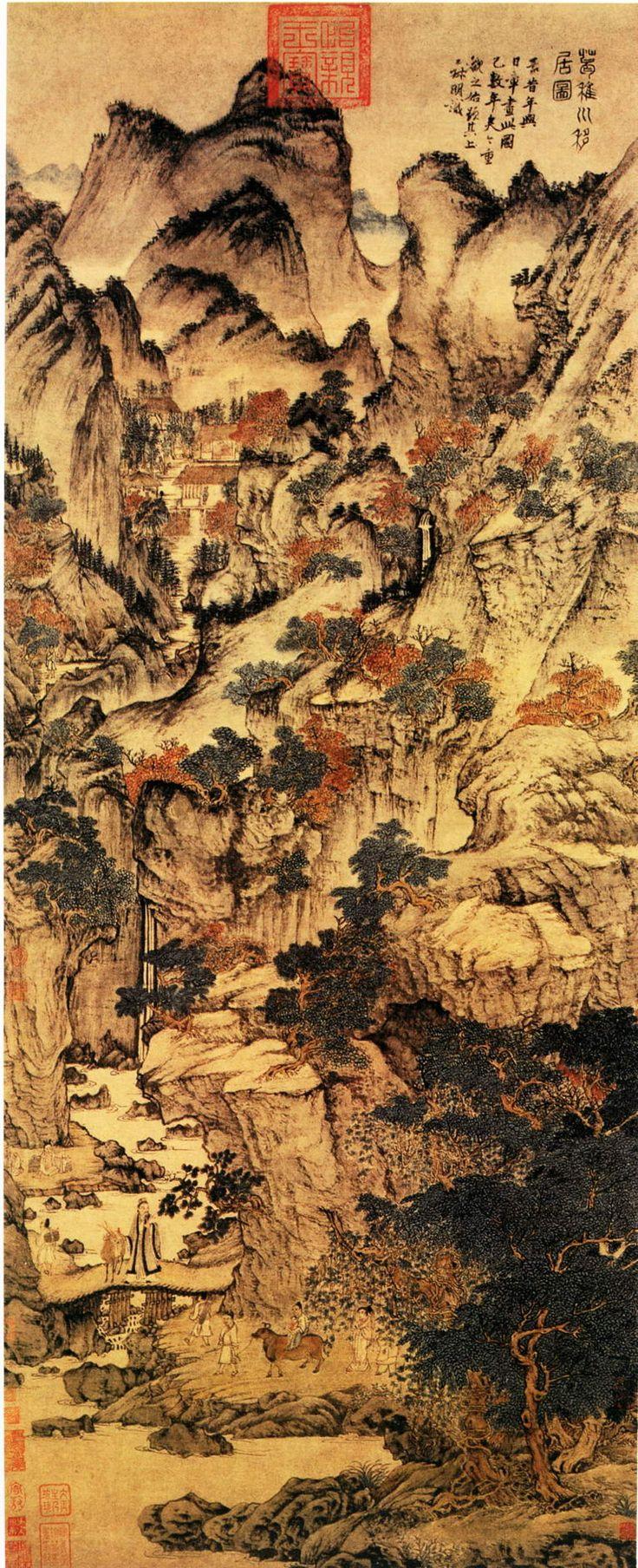Wang Meng(王蒙) ,  Ge Zhichuan Relocating (葛稚川移居图), Palace Museum, Beijing , 葛稚川移居图 北京故宫博物院藏. 元代道教盛行,表现道教题材的绘画作品为数众多,此图描绘的是晋代著名道士葛洪携家移居罗浮山修道的故事,截取了葛洪在移居路上的一段情景。画面以山水为主体,重山复岭,丹柯碧树,飞瀑溪潭,茅亭草舍,一派深秋山林佳境。全画构图繁复,但层次井然,飞瀑、山径引导观者的视线层层深入,使画面气脉贯通,虽满而不迫塞。图中山石纯用水墨,皴擦点染兼参,干湿浓淡互用,勾画缜密,而树木、人物、屋宇则施以赭石、藤黄、花青,设色沉稳浑厚,极富古雅的韵致。整个画面谨严、深秀,创造出一幅理想的隐居环境。王蒙与葛洪虽然年代相隔久远且身份迥异,但在许多方面却有着相同之处:二人皆出自名门,都欲入世作官,却均遭世弃,最终都选择了避世隐居。此图是反映王蒙避世隐居思想的最具代表性的作品。