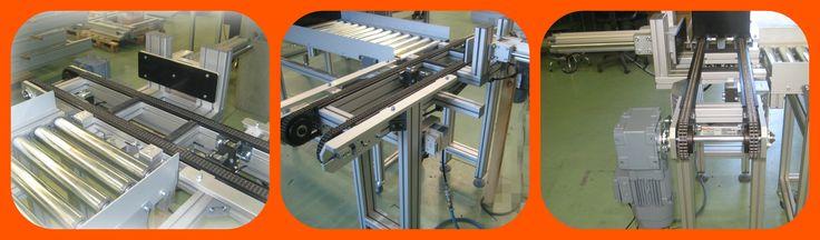 Linea FMS MiniTec de cadena con apoyos y transportador de rodillos de gravedad para sistema de transporte de baterías.