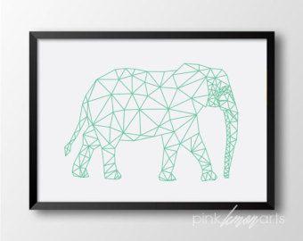 Mint geometrische olifant, afdrukbare muur kunst, geometrische decor, Scadinavian decor, moderne print 270