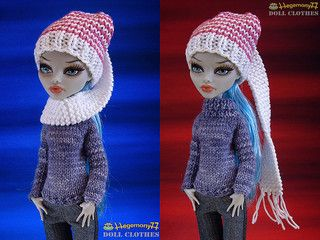 Monster High doll in hand knitted sweater and scarf hat | Flickr - Photo Sharing!