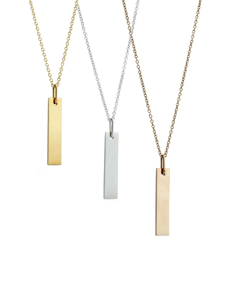 Simple yet stylish ID pendants. Perfect for engraving. Available mid-June 2012.