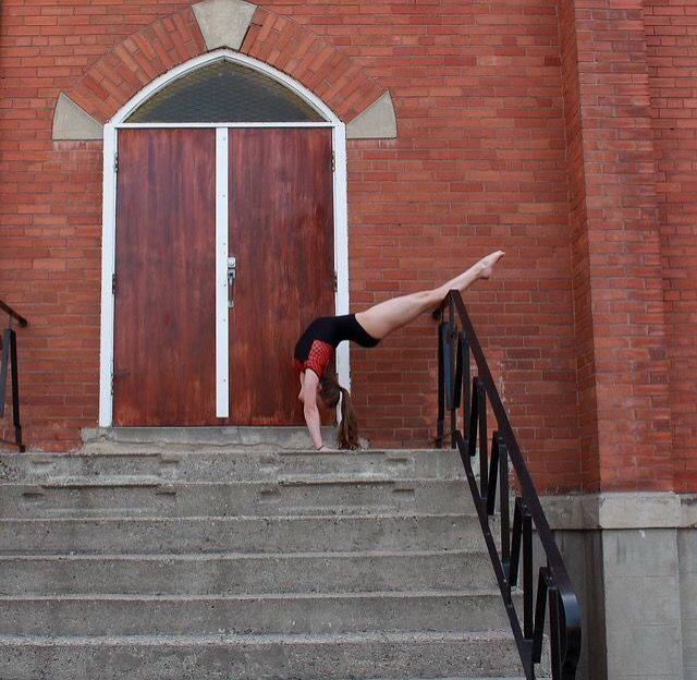 Contortion on church steps