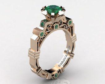 Caravaggio moderno 14k oro rosa Ct 1,0 smeraldo anello di fidanzamento R624-14KRGEM