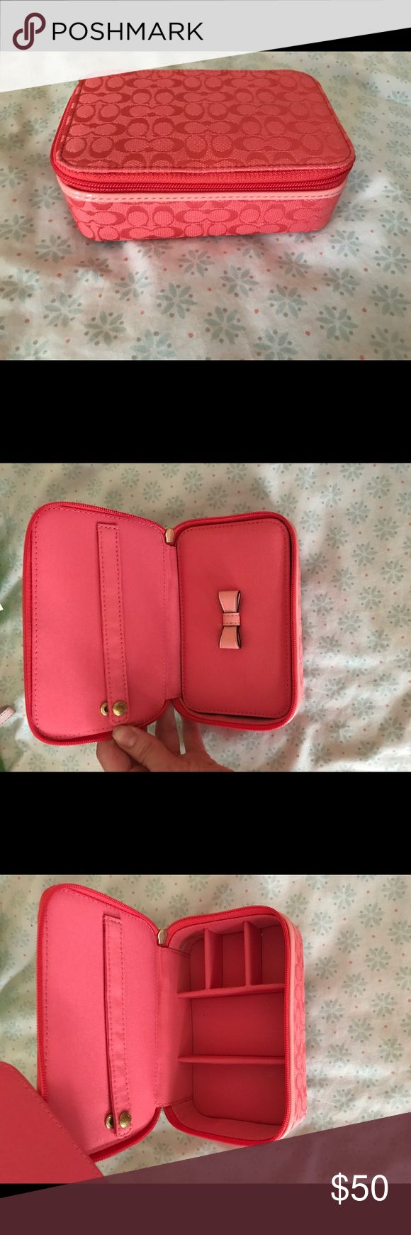 Coach jewelry travel case pink Cute pink Coach jewelry case. Perfect for travel! Only used twice in great condition! Coach Jewelry