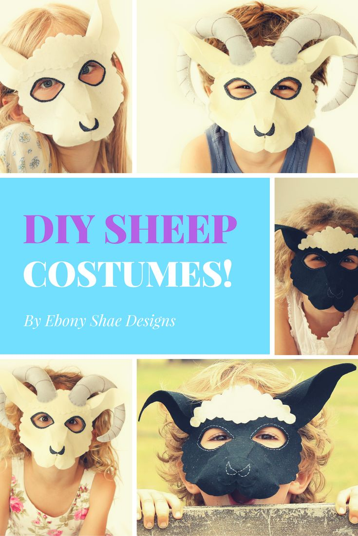 Make your own cute and cuddly sheep masks.  Choose from the black sheep, white lamb or ram mask patterns and stitch up a storm for your little one!