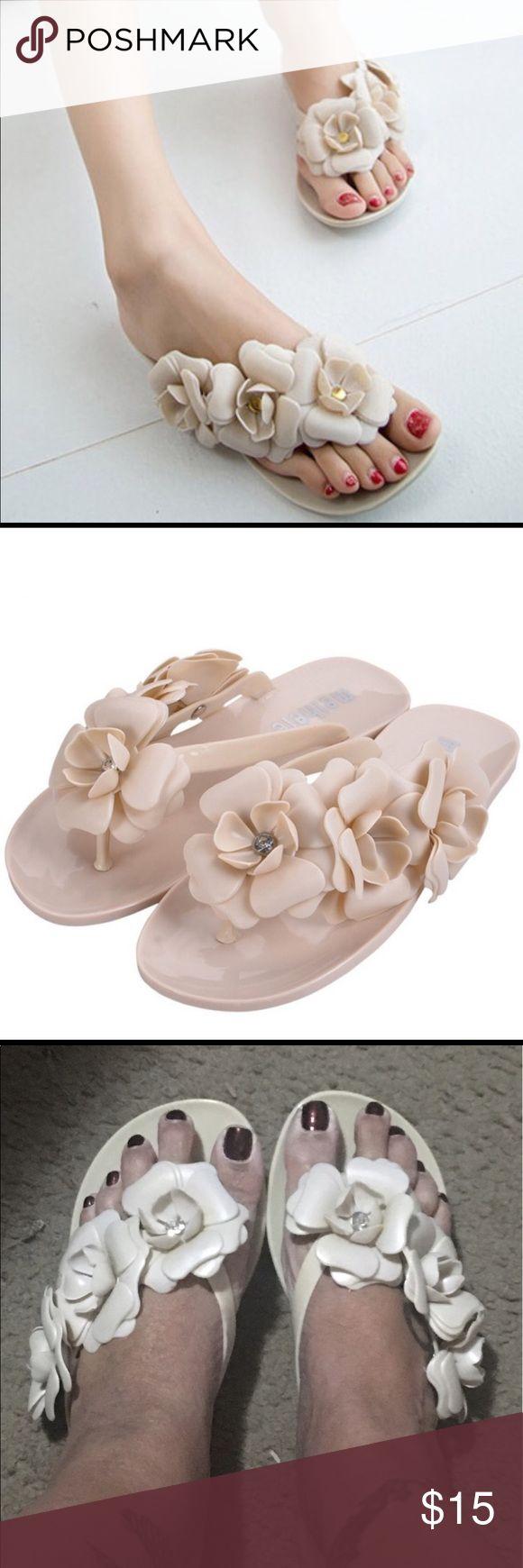 NWOT BEAUTIFUL CAMELIA FLOWER JELLY FLIP FLOPS Women's Jelly Flip Flops (slides). Flowers have Rhinestones inside each one, making them look very elegant 💎🌸 Shoes Slippers
