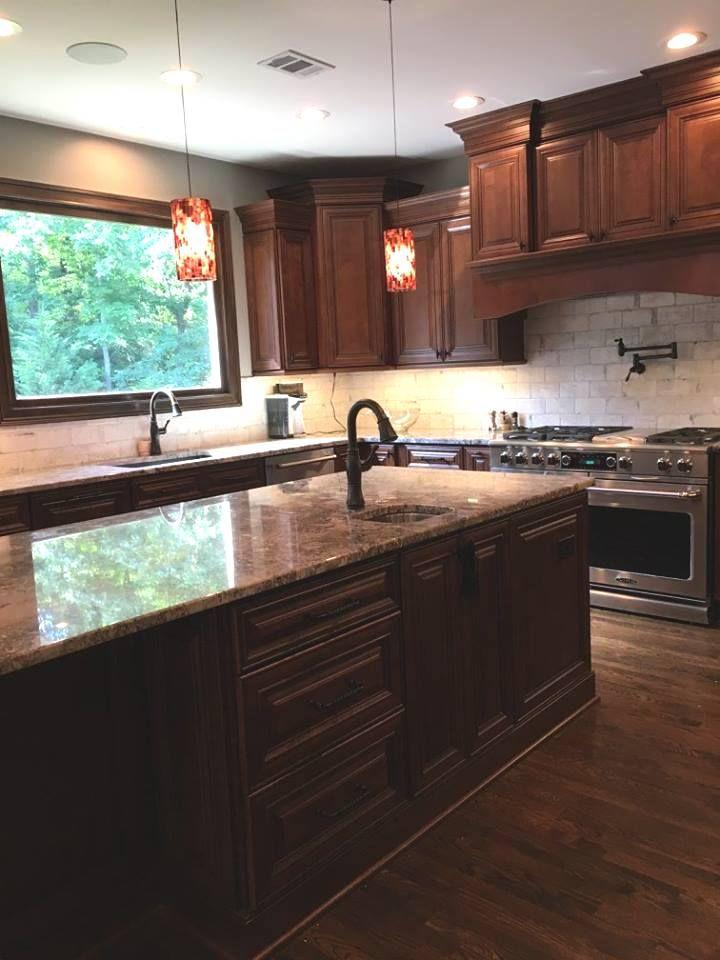 Brown Cabinet Kitchen Herringbone Backsplash Beadboard Backsplash Brown Kitchen Cabinets