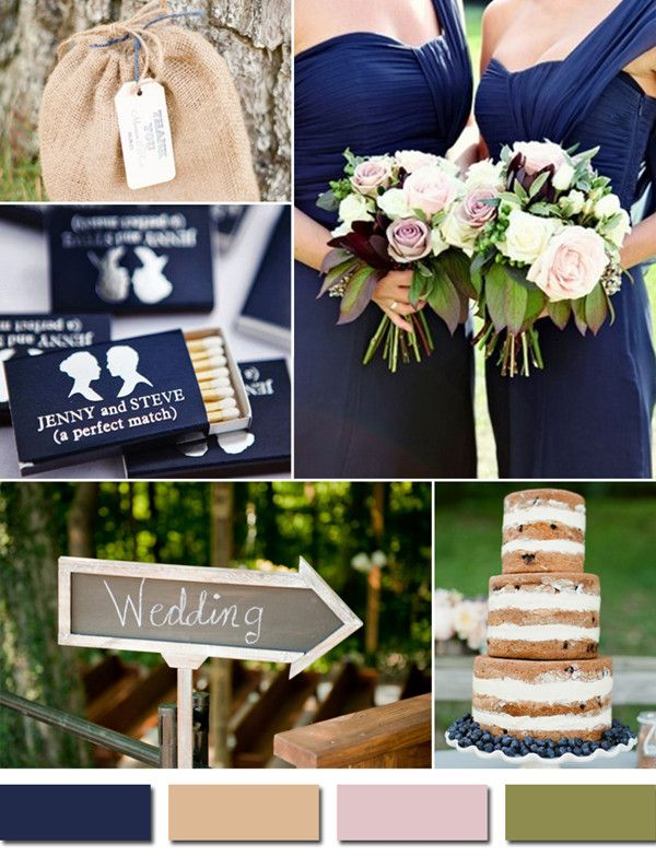 Country Rustic Navy Blue And Blush Fall Wedding Color Ideas Elegantweddinginvites