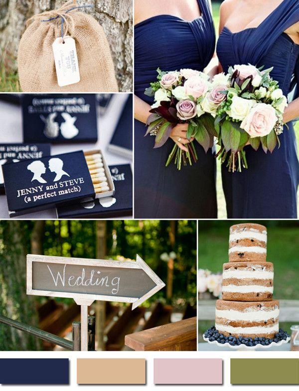 country rustic navy blue and blush fall wedding color ideas #weddingcolors #elegantweddinginvites  #fallweddingideas
