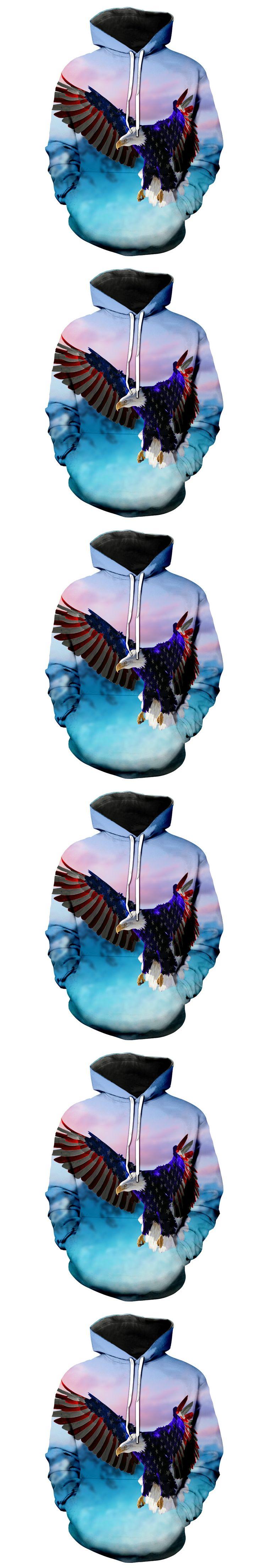 2017 FASHION MEN WOMEN American flag Eagle Flying HOODIE 3D Hoodie Sweatshirts Pullovers Autumn Tracksuit Winter Loose ThinHoody