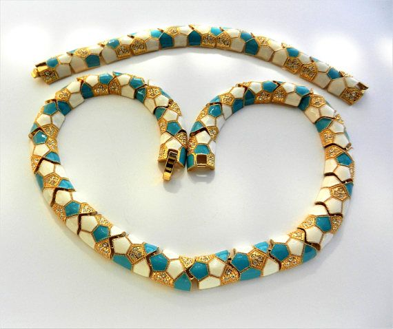 R.J.GRAZIANO fabulous Turquoise & White Enamel Necklace and