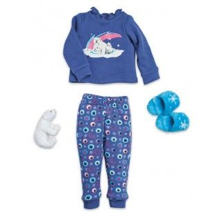 Polar Bear PJ's: Polar bears are a strong and noble symbol of the Canadian north and Saila loves these two piece pajamas with the mom and cub grpahic set against a northern lights sky. Includes a cute polar bear soft toy, fuzzy snowflake slippers and journal pages about, what else - polar bears!