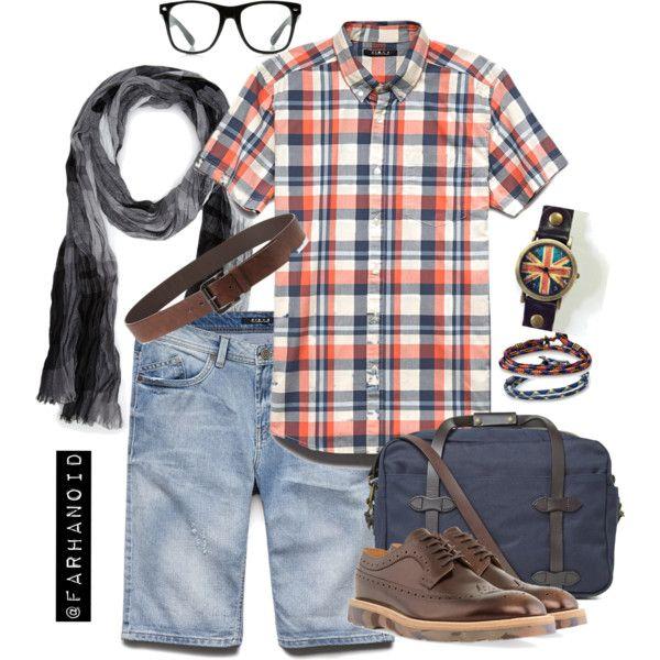 """Cotton Plaid Pocket Shirt and Denim"" by farhanoid on Polyvore"
