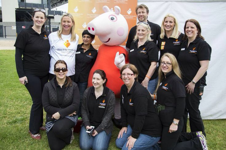 The Melbourne Lifes Little Treasures team with Brooke Hanson and Peppa Pig