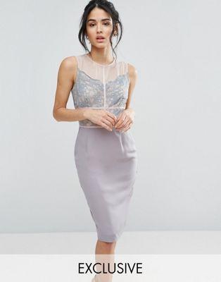 Elise Ryan - Vestito longuette con pizzo smerlato e pannelli a contrasto