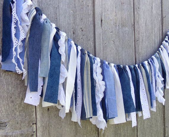 Denim Wedding Garland, 4 Ft Rustic Boho Tattered Fabric Banner, Blue & White Photo