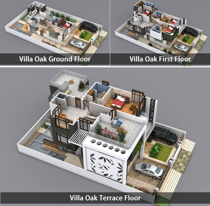 Villa oak 3d view kien truc pinterest villas 3d for Plan de villa 3d