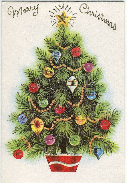 Vintage Greeting Card ~ little Christmas tree with vintage ornaments and star topper ~ public domain.