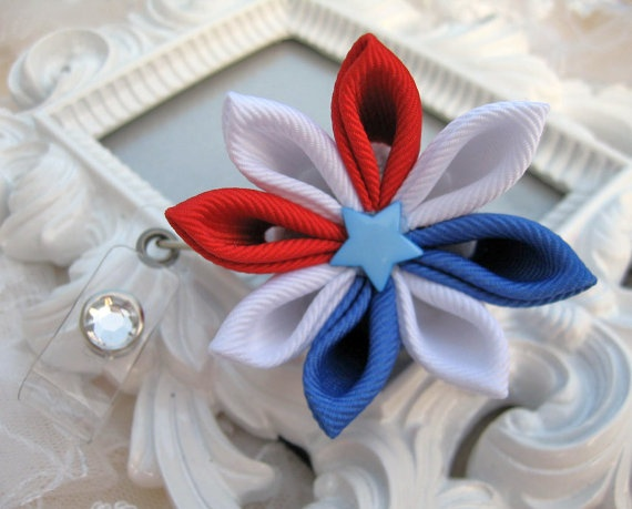 4th July Kanzashi Flower ID Badge Holder with by krantwist on Etsy, $9.99