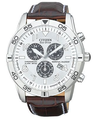 Citizen Watch, Men's Eco-Drive Perpetual Calendar Chronograph Brown Leather Strap