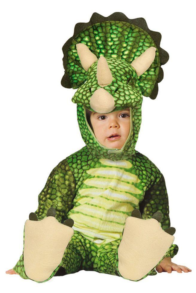 Traje de dinosaurio triceratops verde para bebés