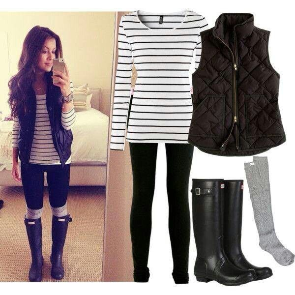 Winter outfit: stripey tunic, puffy vest, black leggings, boot socks, boots
