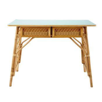 Rotan bureau, vintage stijl, breedte 103 cm - Florida