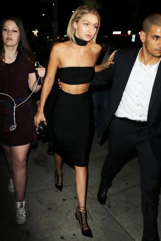 See 130 of Gigi Hadid's best street style moments: Black choker two piece dress