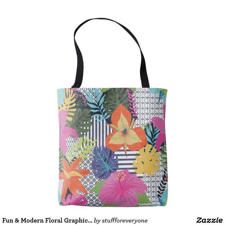 Fun & Modern Floral Graphic Tote Bag