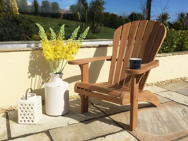 This Teak Garden Adirondack Chair Is A Fabulous For Lounging Outdoors.  Created Using Traditional Joinery Techniques And With Elegant Line