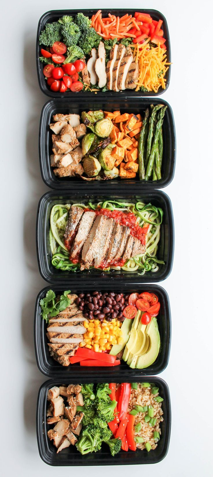 Easy Chicken Meal Prep Bowls: 5 Ways - this is a quick and easy way to have healthy lunch recipes and healthy dinner recipes for the week! #ad @PTrainerFood